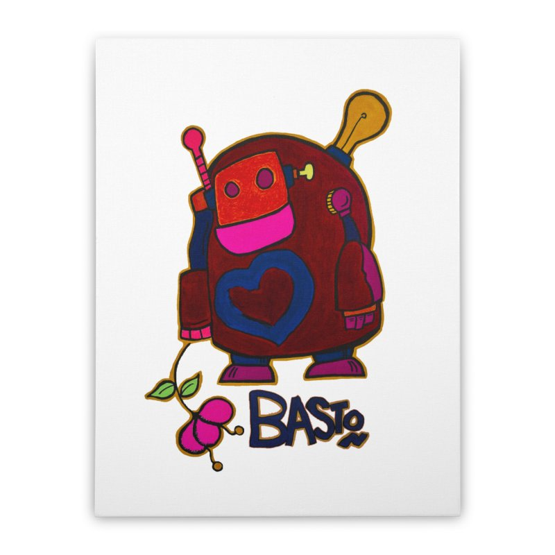 Robot Love 2 Home Stretched Canvas by Baston's T-Shirt Emporium!