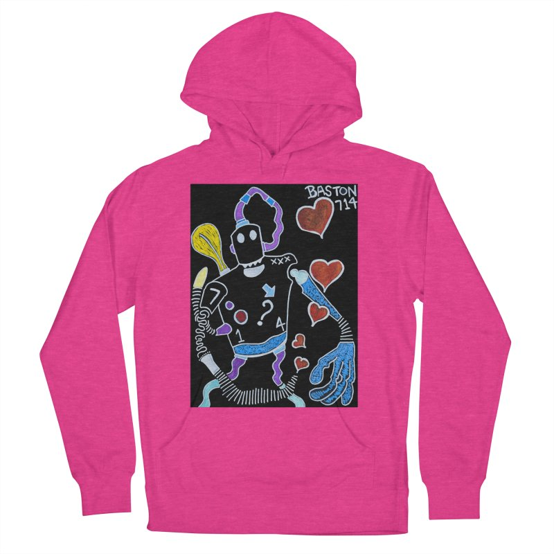 Robot Love Women's French Terry Pullover Hoody by Baston's T-Shirt Emporium!