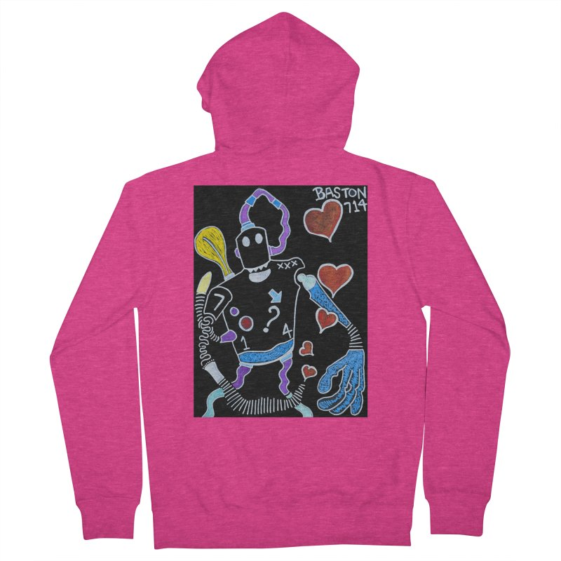 Robot Love Women's French Terry Zip-Up Hoody by Baston's T-Shirt Emporium!