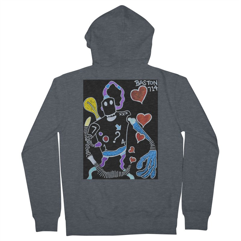 Robot Love Men's French Terry Zip-Up Hoody by Baston's T-Shirt Emporium!