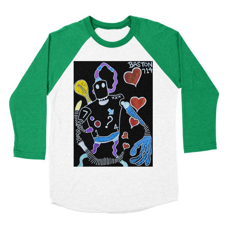 Robot Love Women's Baseball Triblend Longsleeve T-Shirt by Baston's T-Shirt Emporium!