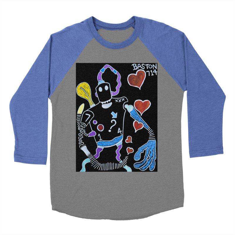 Robot Love Men's Baseball Triblend T-Shirt by Baston's T-Shirt Emporium!