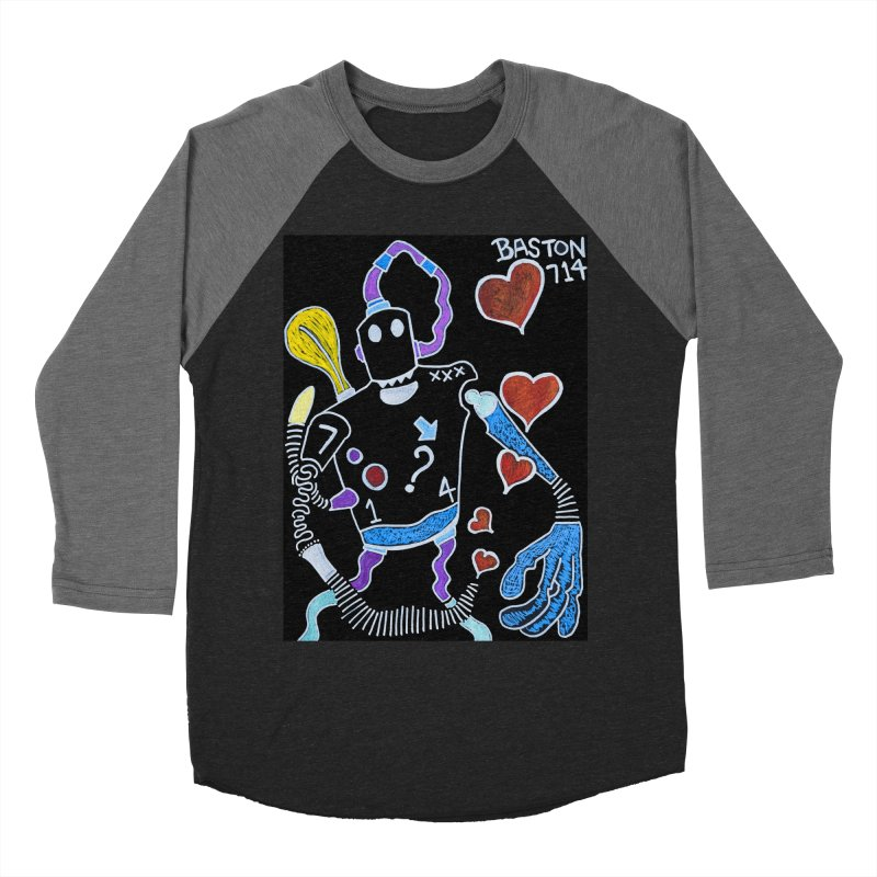 Robot Love Men's Baseball Triblend Longsleeve T-Shirt by Baston's T-Shirt Emporium!