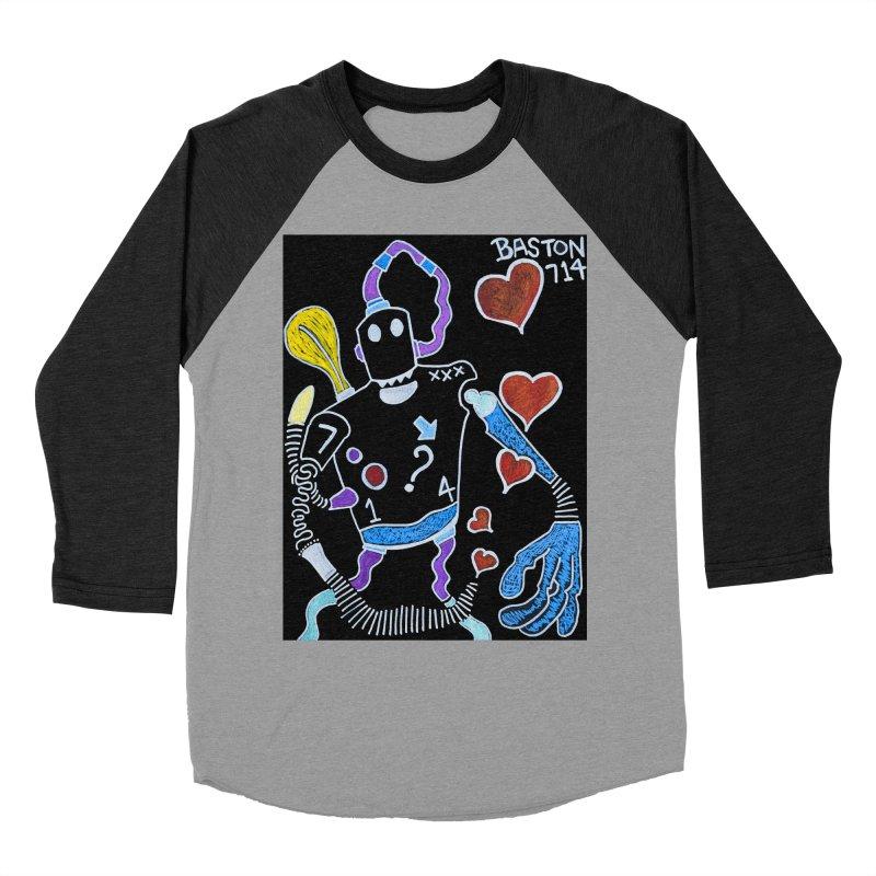 Robot Love Men's Baseball Triblend Longsleeve T-Shirt by Baston's T-Shirt Emporium!