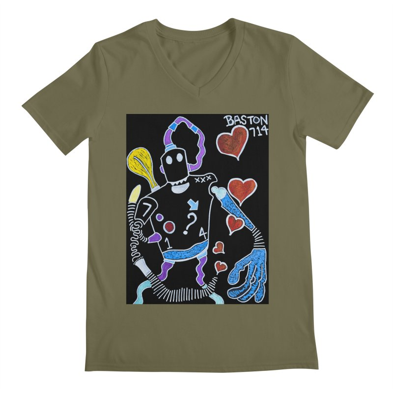 Robot Love Men's V-Neck by Baston's T-Shirt Emporium!