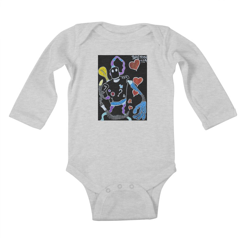 Robot Love Kids Baby Longsleeve Bodysuit by Baston's T-Shirt Emporium!