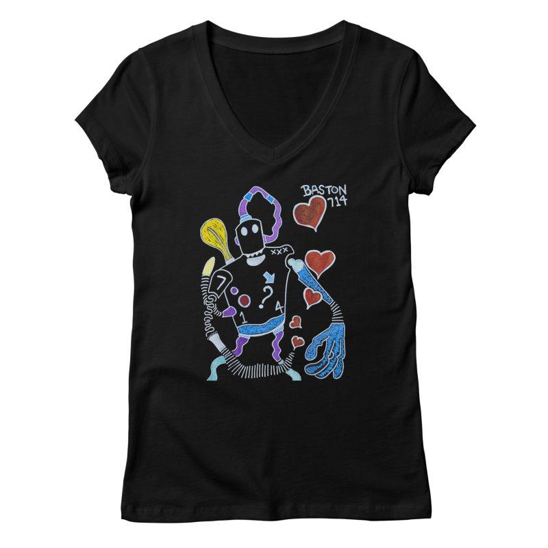 Robot Love Women's V-Neck by Baston's T-Shirt Emporium!