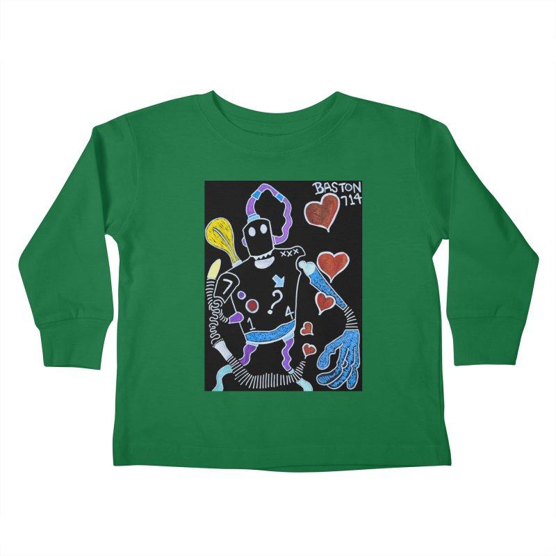 Robot Love Kids Toddler Longsleeve T-Shirt by Baston's T-Shirt Emporium!