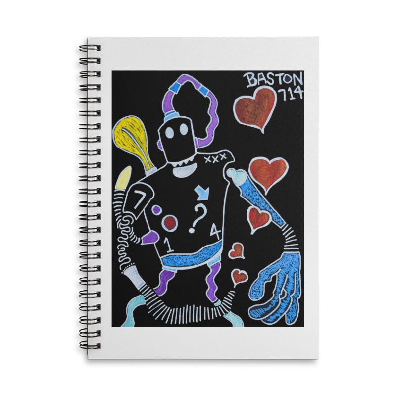 Robot Love Accessories Lined Spiral Notebook by Baston's T-Shirt Emporium!