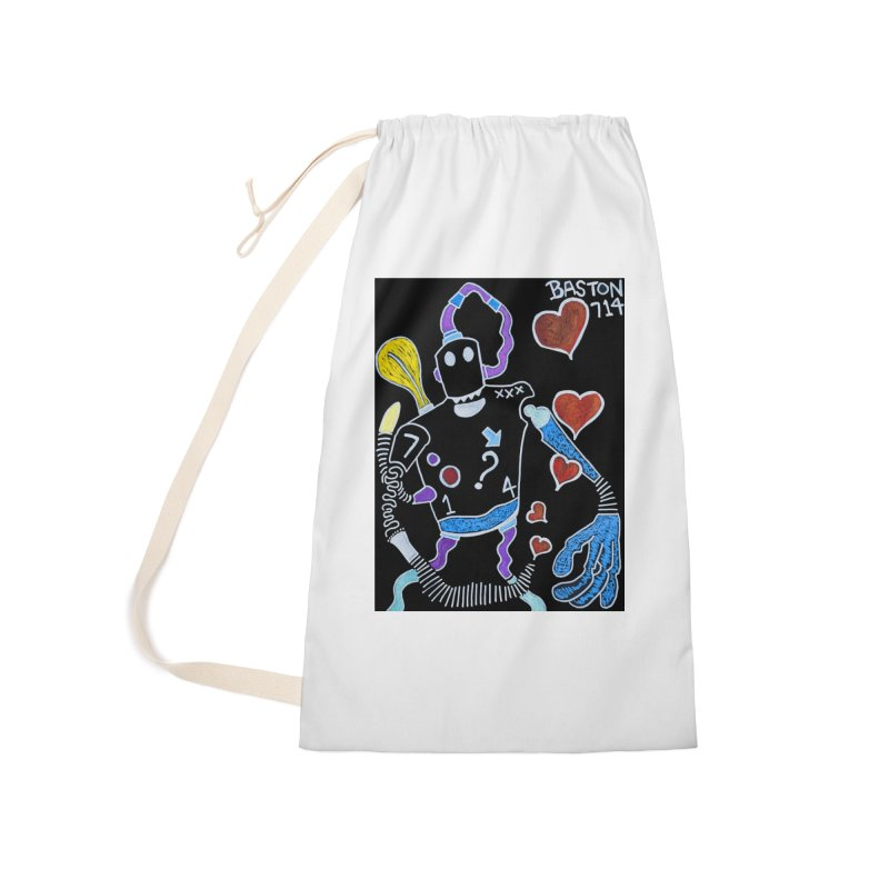 Robot Love Accessories Laundry Bag Bag by Baston's T-Shirt Emporium!
