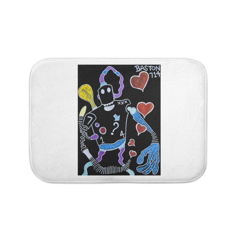 Robot Love Home Bath Mat by Baston's T-Shirt Emporium!