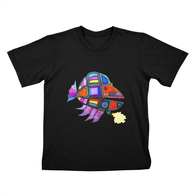 MECHANO FISH RAINBOW Kids T-Shirt by Baston's T-Shirt Emporium!