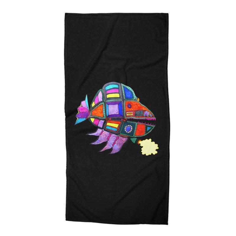 MECHANO FISH RAINBOW Accessories Beach Towel by Baston's T-Shirt Emporium!