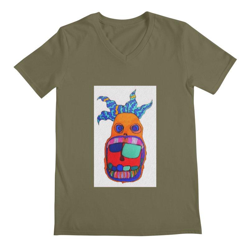 Wild Multicolored Wally! Men's V-Neck by Baston's T-Shirt Emporium!
