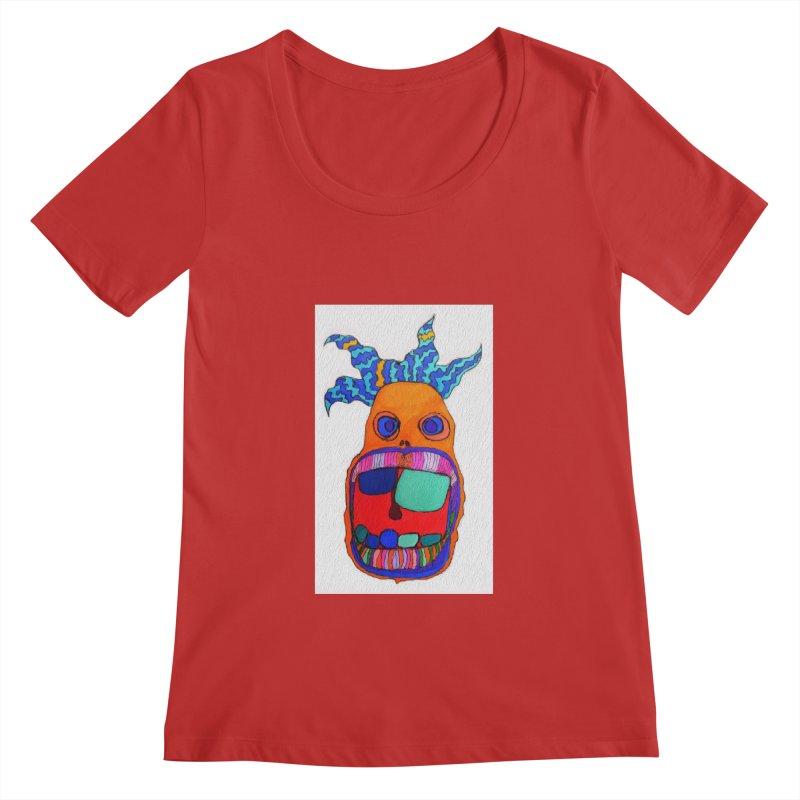 Wild Multicolored Wally! Women's Scoopneck by Baston's T-Shirt Emporium!
