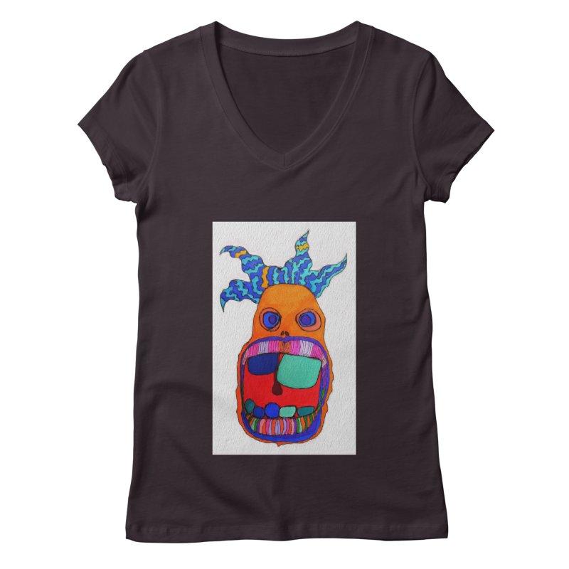 Wild Multicolored Wally! Women's V-Neck by Baston's T-Shirt Emporium!