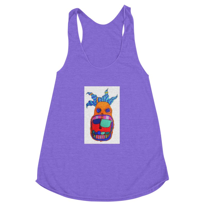 Wild Multicolored Wally! Women's Racerback Triblend Tank by Baston's T-Shirt Emporium!