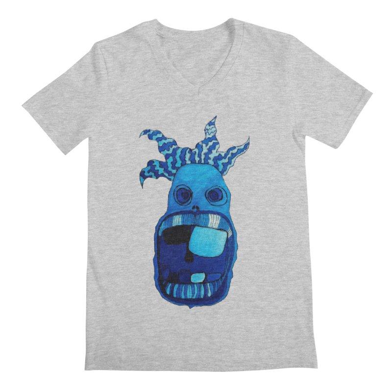 BLUE WALLY!  Men's V-Neck by Baston's T-Shirt Emporium!