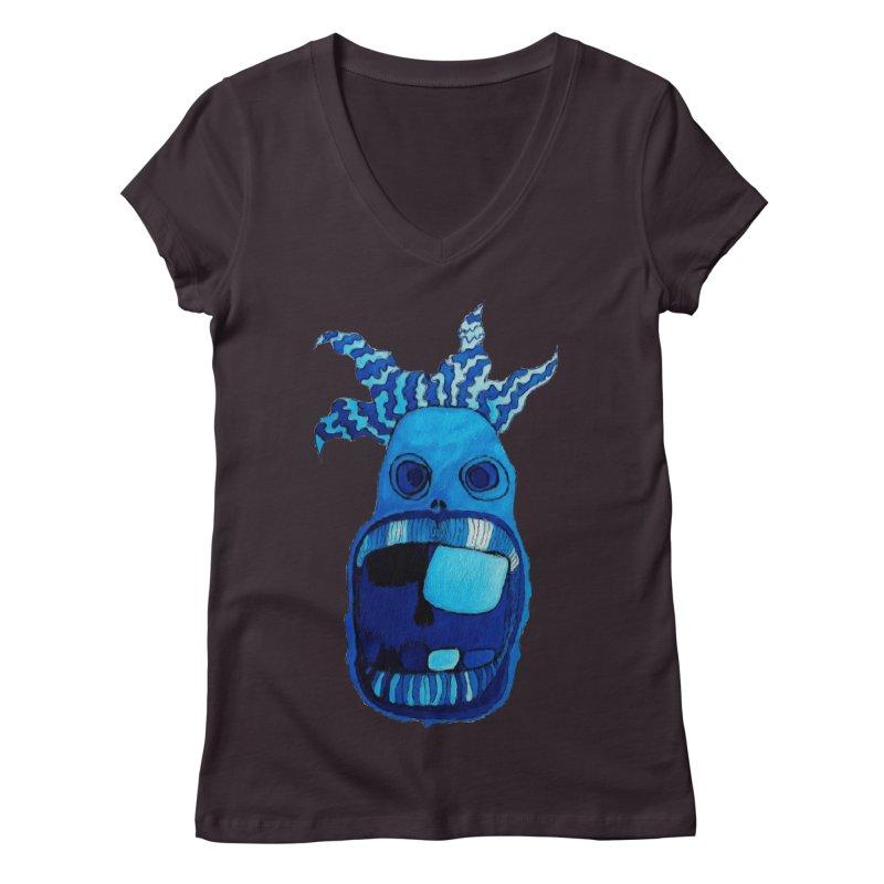 BLUE WALLY!  Women's V-Neck by Baston's T-Shirt Emporium!