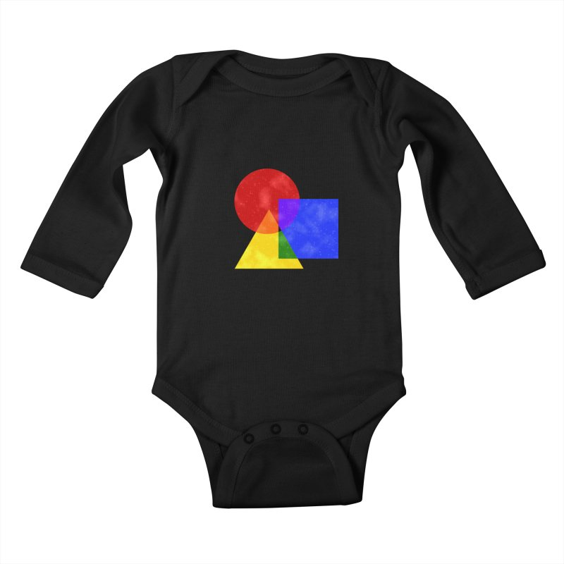 Primary Shapes Kids Baby Longsleeve Bodysuit by Baubly Apparel