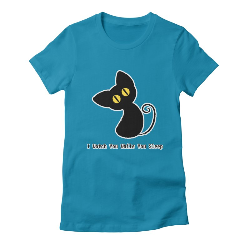 Kitty Stare Women's Fitted T-Shirt by Baubly Apparel