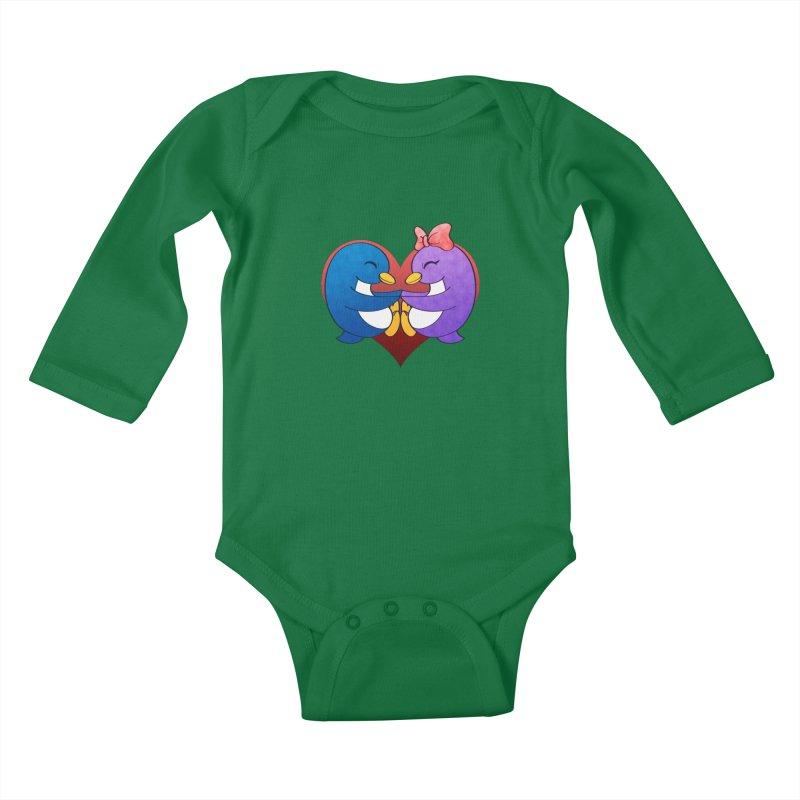 Penguin Snuggles Kids Baby Longsleeve Bodysuit by Baubly Apparel