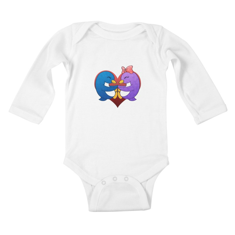 Penguin Snuggles Kids Baby Longsleeve Bodysuit by Baubly Apparel