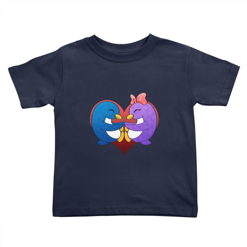Penguin Snuggles Kids Toddler T-Shirt by Baubly Apparel
