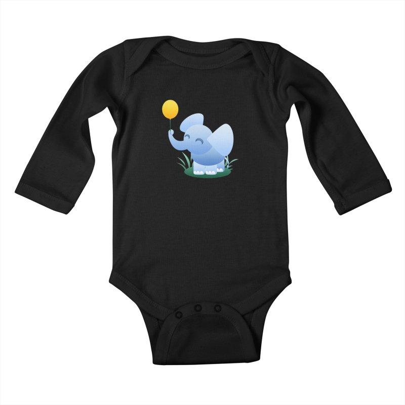 Elephant Balloon Kids Baby Longsleeve Bodysuit by Baubly Apparel