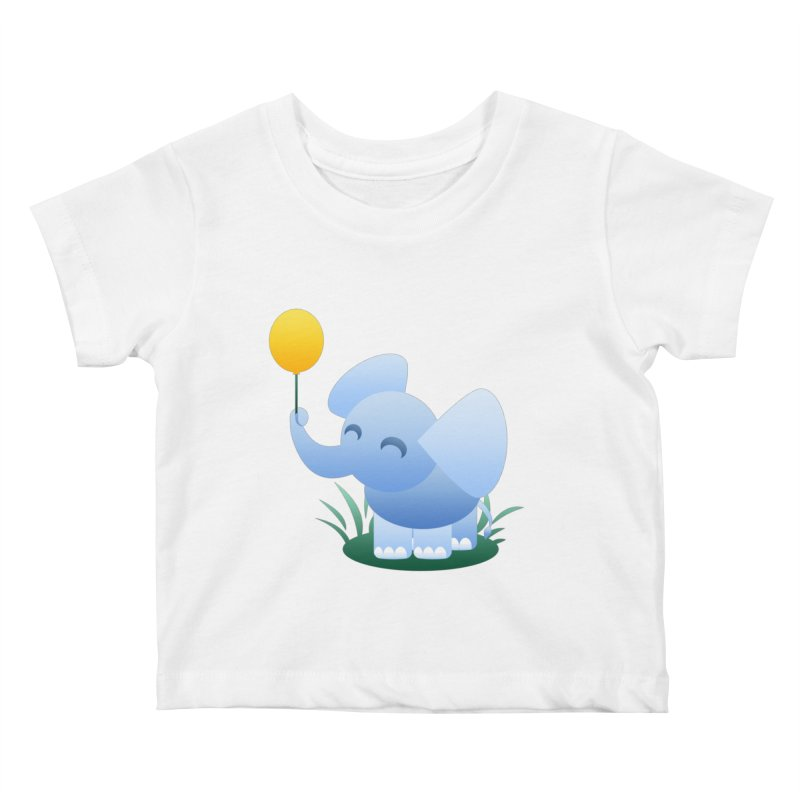 Elephant Balloon Kids Baby T-Shirt by Baubly Apparel