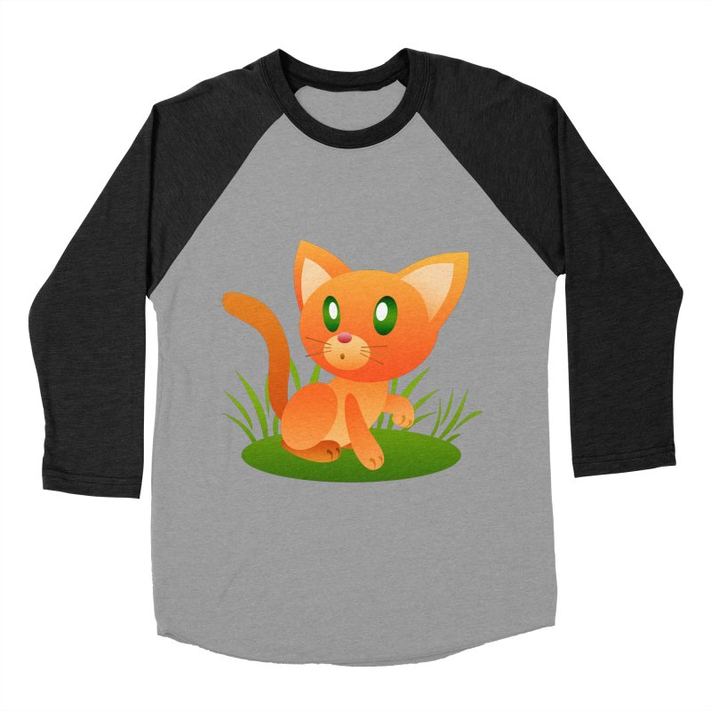 Little Cat Men's Baseball Triblend T-Shirt by Baubly Apparel