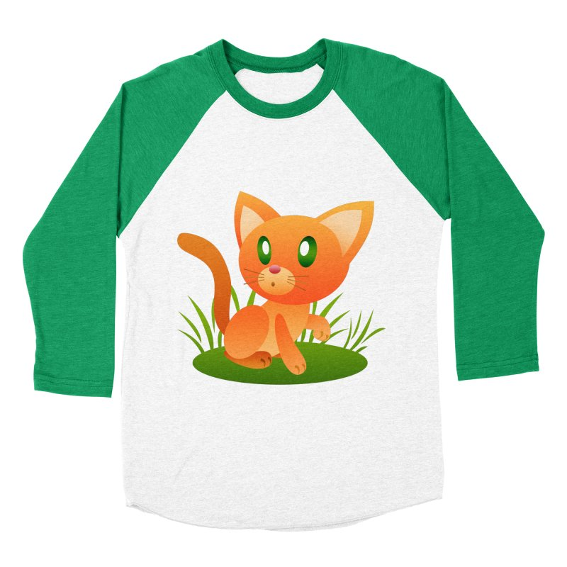 Little Cat Men's Baseball Triblend T-Shirt by Baubly Apparel