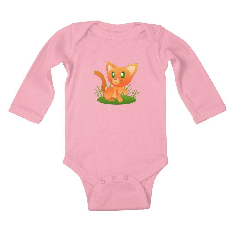 Little Cat Kids Baby Longsleeve Bodysuit by Baubly Apparel