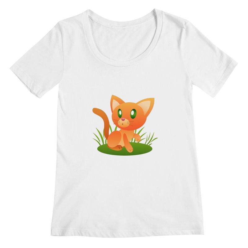 Little Cat Women's Scoopneck by Baubly Apparel