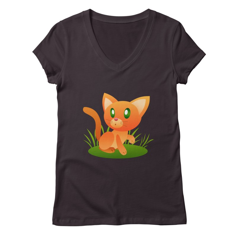 Little Cat Women's V-Neck by Baubly Apparel