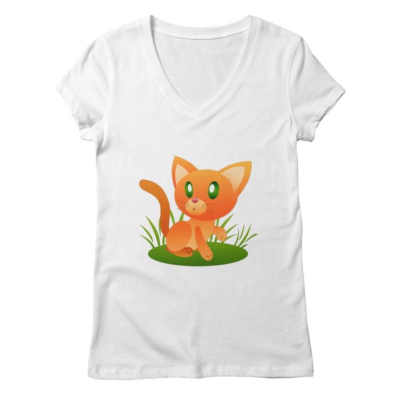 Little Cat Women's V-Neck by Baubly Apparel