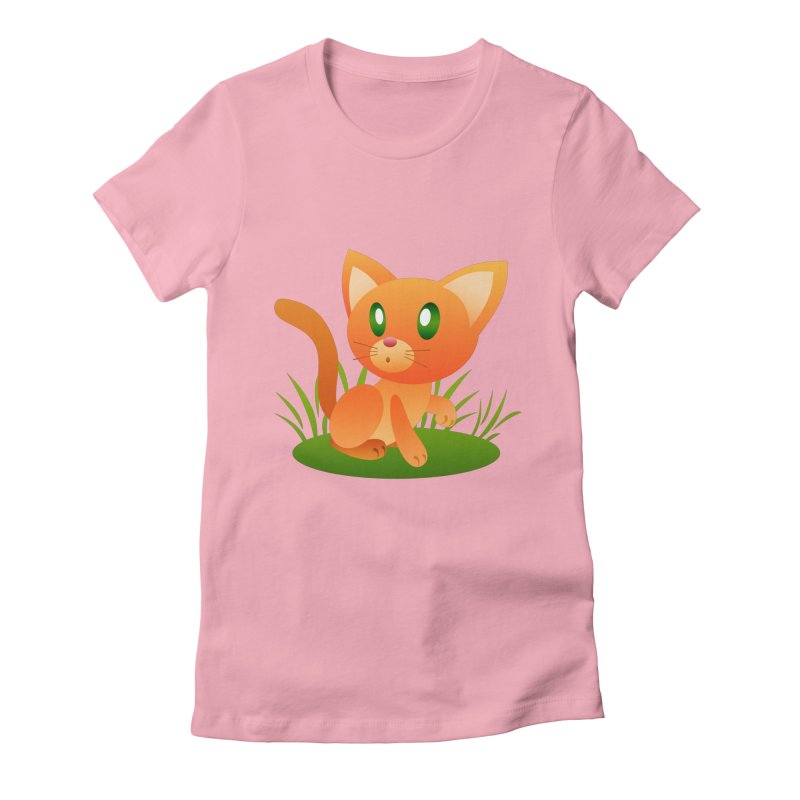 Little Cat Women's Fitted T-Shirt by Baubly Apparel