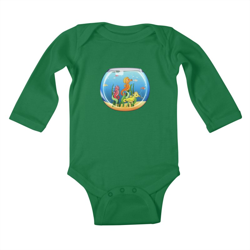 Seahorse Bowl Kids Baby Longsleeve Bodysuit by Baubly Apparel