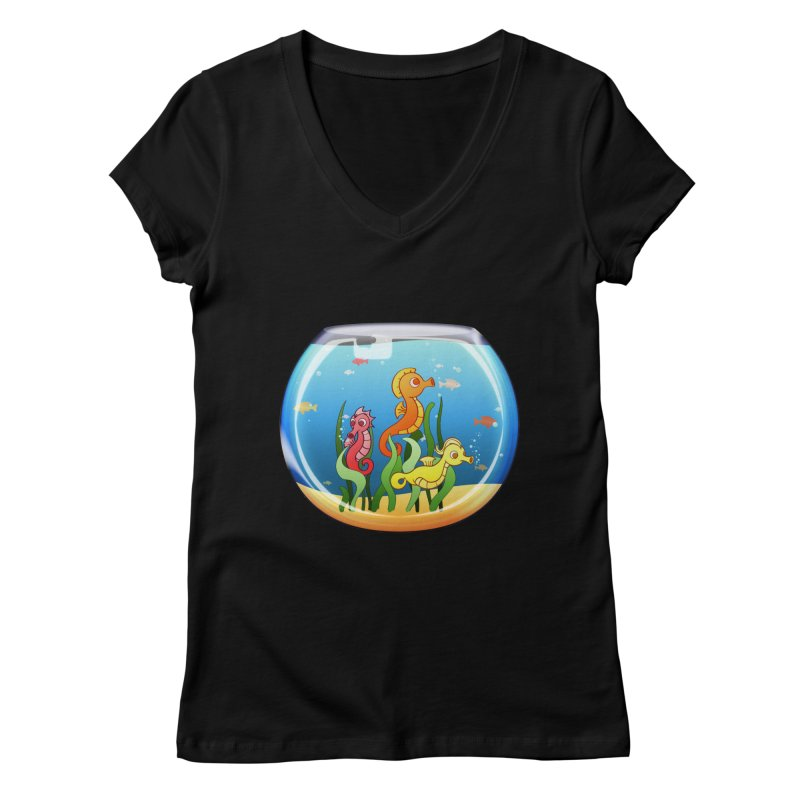 Seahorse Bowl Women's V-Neck by Baubly Apparel