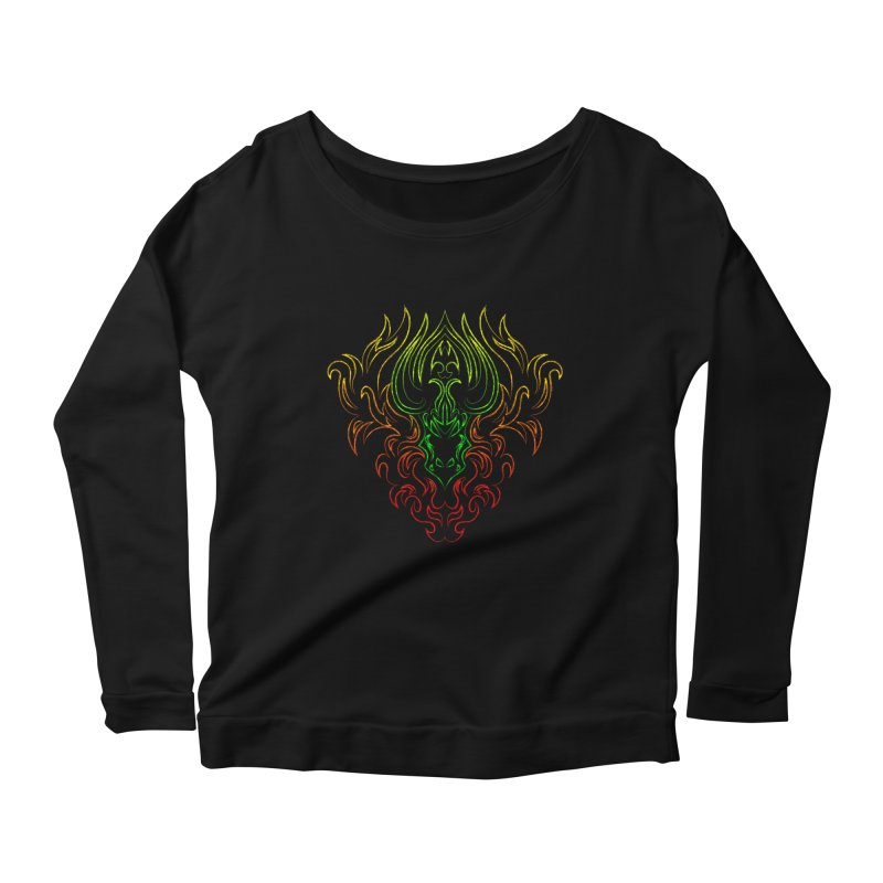 Dragon Fire Women's Longsleeve Scoopneck  by Baubly Apparel