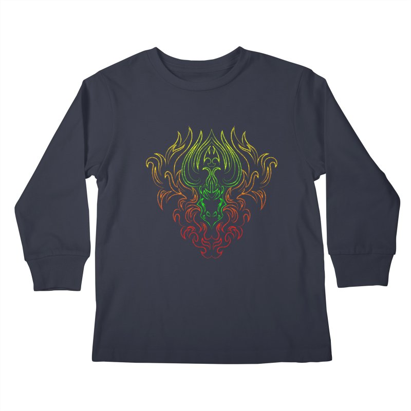 Dragon Fire Kids Longsleeve T-Shirt by Baubly Apparel