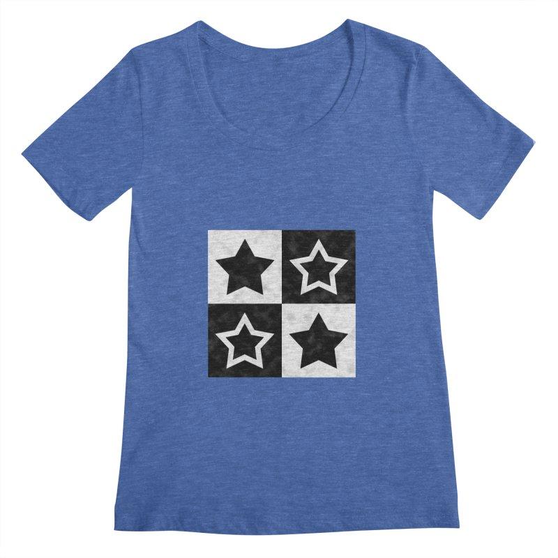 Star Blocks Women's Scoopneck by Baubly Apparel