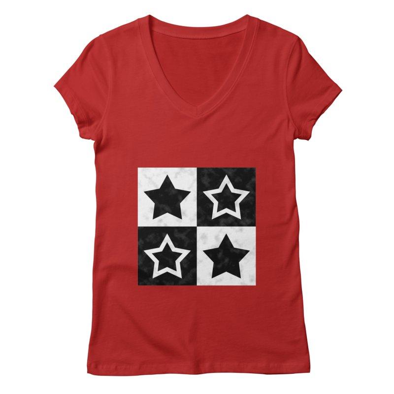 Star Blocks Women's V-Neck by Baubly Apparel
