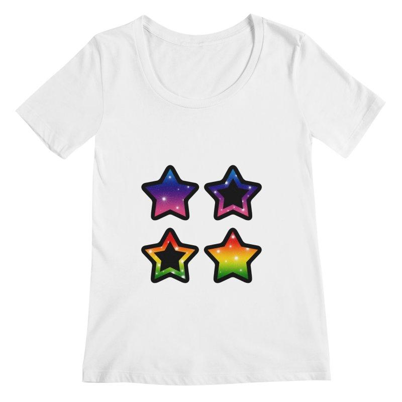Rainbow Stars Women's Scoopneck by Baubly Apparel