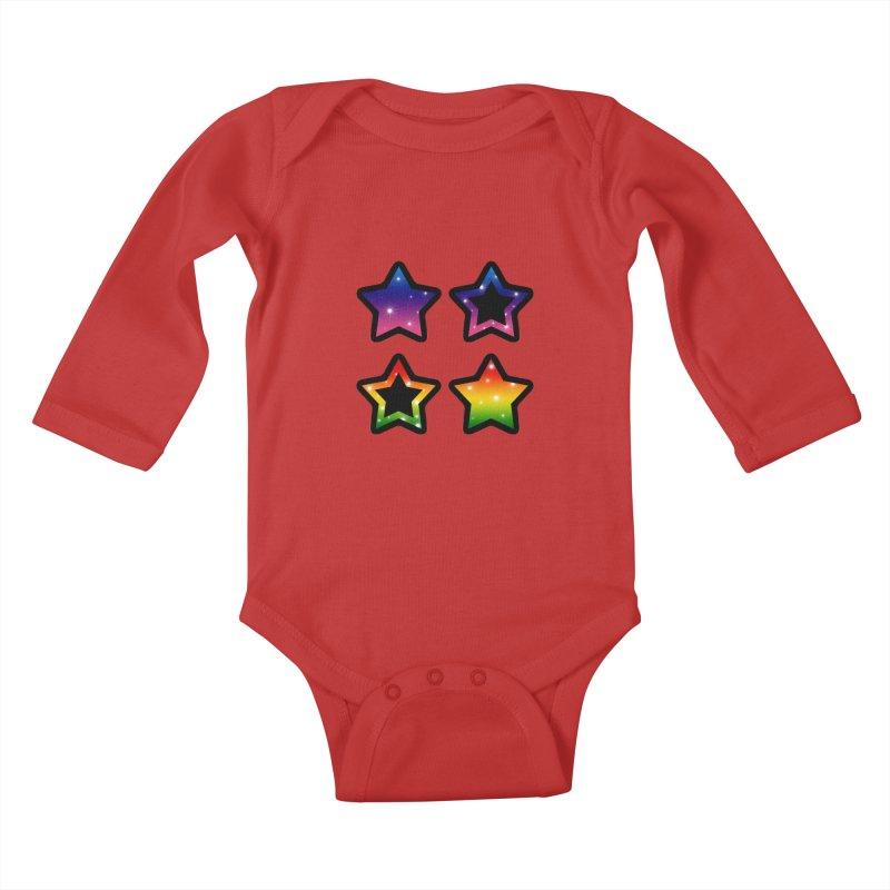Rainbow Stars Kids Baby Longsleeve Bodysuit by Baubly Apparel