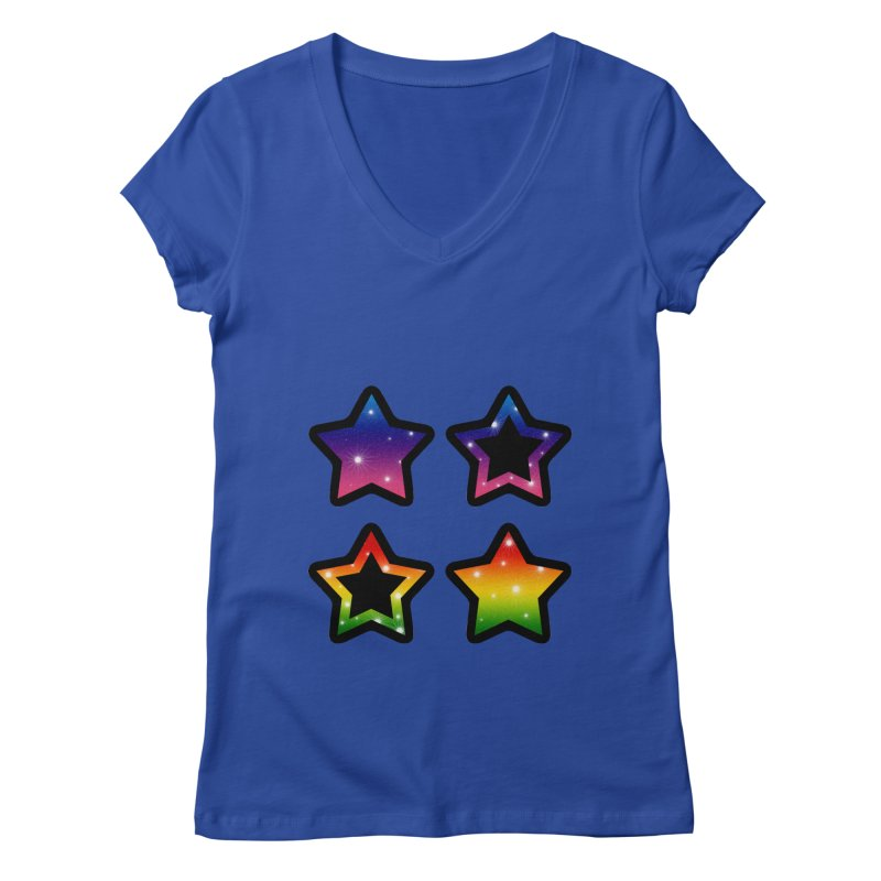 Rainbow Stars Women's V-Neck by Baubly Apparel