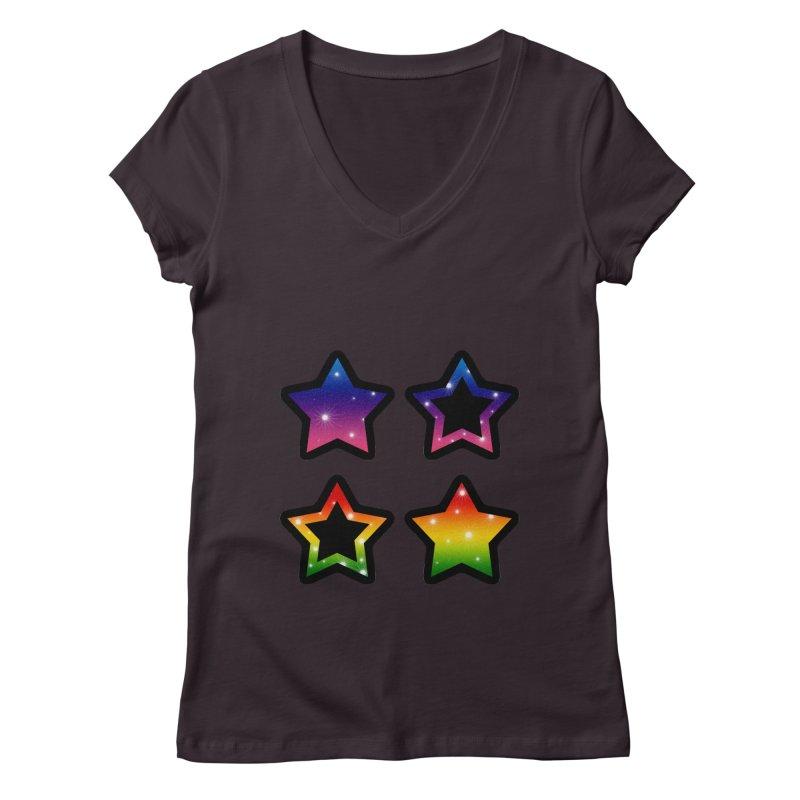Rainbow Stars Women's V-Neck by Baubly Apparel