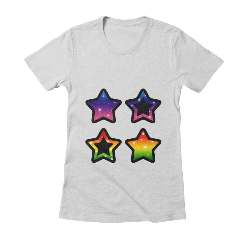 Rainbow Stars Women's Fitted T-Shirt by Baubly Apparel