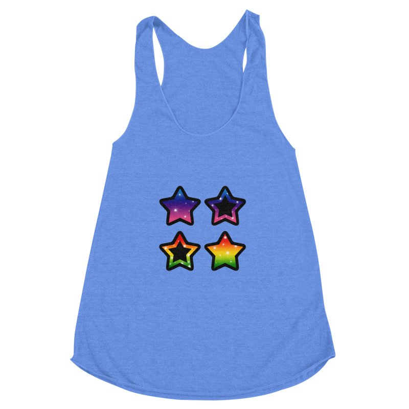 Rainbow Stars Women's Racerback Triblend Tank by Baubly Apparel