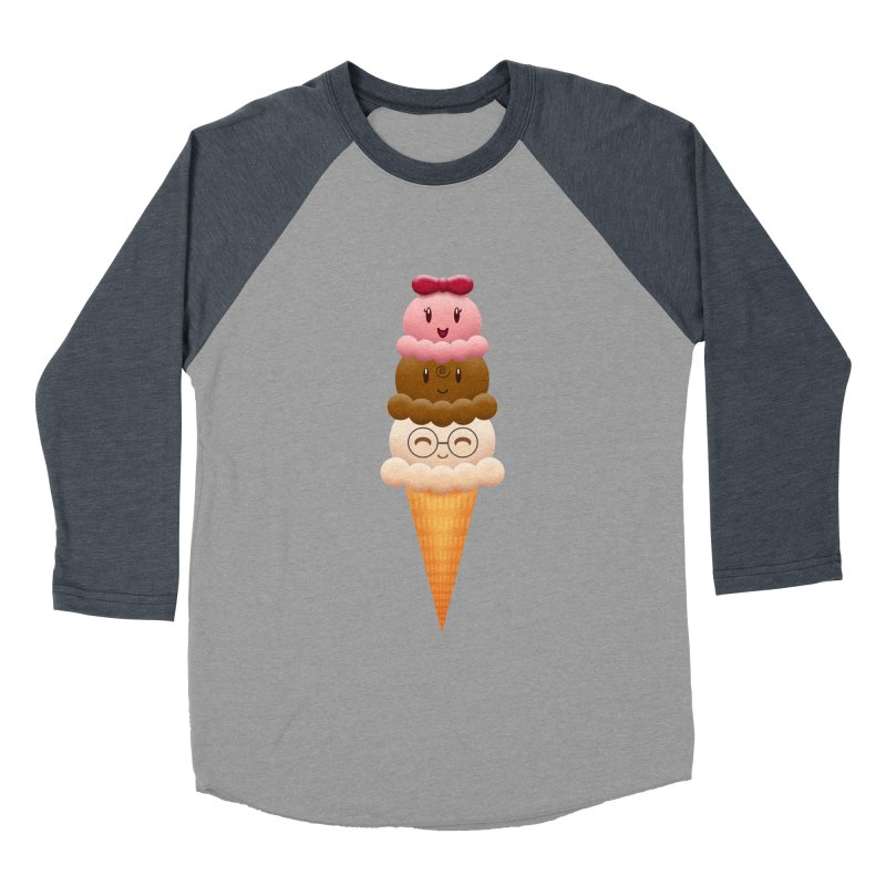 Ice Cream Buddies Women's Baseball Triblend T-Shirt by Baubly Apparel